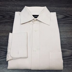 Hugo Boss Cream Ivory French Cuff Shirt 15 32/33